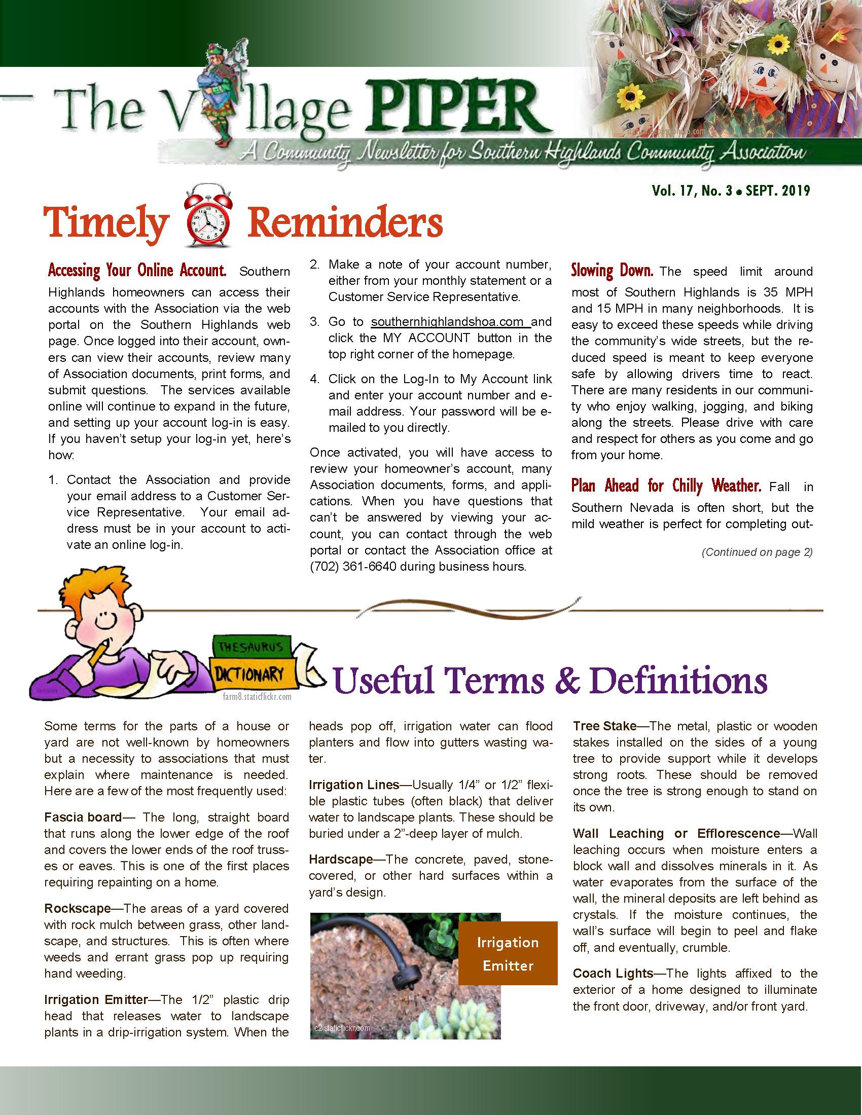 Newsletter - Southern Highlands HOA Southern Highlands HOA